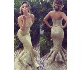 Strapless Prom Dresses,Gold Prom Dress,Modest Prom Gown,Sequins Prom Gowns,Sequined Evening Dress,Princess Evening Gowns,Sparkly Party Gowns,2016 Prom Gowns,Mermaid Evening Dress,Sexy Prom Dresses