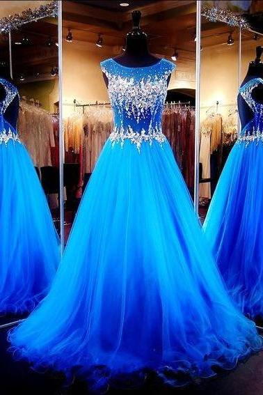 Royal Blue Crystals Luxury Prom Dresses Capped Sleeves Sheer Hollow Back A-line Pageant Dresses