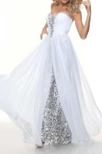2016 Elegant Sweetheart Long White Prom Dresses With Silver Sequin evening dress For teens