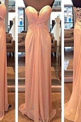 Light pink prom dresses long, sweetheart dress 2016, strapless chiffon long ball gown for teens