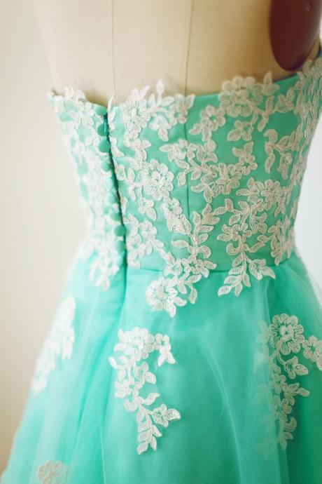 Pretty Handmade Turquoise Tulle Tea Length Prom Dress With White Applique, Turquoise Prom Dresses, Homecoming Dresses 2015, Graduation Dresses