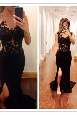 Black lace mermaid prom dress, lace prom dress, sexy prom dress, 2015 prom dress, cheap prom dresses, 2015 prom dress