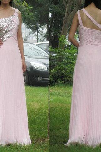 Charming Prom Dress,Chiffon Prom Dress,One-Shoulder Prom Dress,Sequined Prom Dress,A-Line Prom Dress