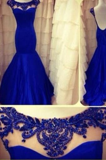 Gorgeoua Backless Royal Blue Chiffon Mermaid Prom Dress 2015, Bridal Gown,Bridesmaid Dresses,Prom Dress Sheer Illusion Beaded Neckline Evening Dress