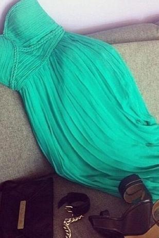Pretty Green Sweetheart Chiffon Floor Length Prom Dresses, Green Prom Dresses, Prom 2015, Evening Dress, Party Dresses