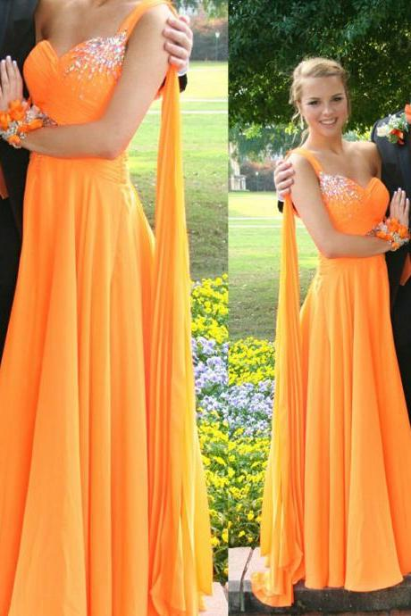Charming Prom Dress,Sweetheart Prom Dress,A-Line Prom Dress,Chiffon Prom Dress,One-Shoulder Prom Dress