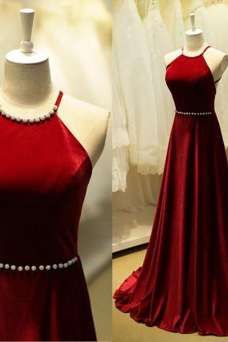 High Neckline Floor Length Red Wine Taffeta Fabric Dress with Open Back