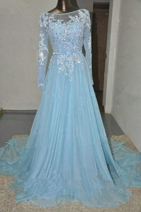 Light Sky Blue Prom Dresses,Beaded Prom Gowns,Beadding Prom Dresses 2016,Chiffon Party Dresses,Long Prom Gown,Charming Evening Dress With Long Sleeves