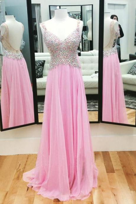 Pink Backless Prom Dresses,Open Back Prom Gowns, Pink Prom Dresses 2016, Party Dresses 2016,Long Prom Gown,Open Backs Prom Dress,Sparkle Evening Gown,Sparkly Party Gowns