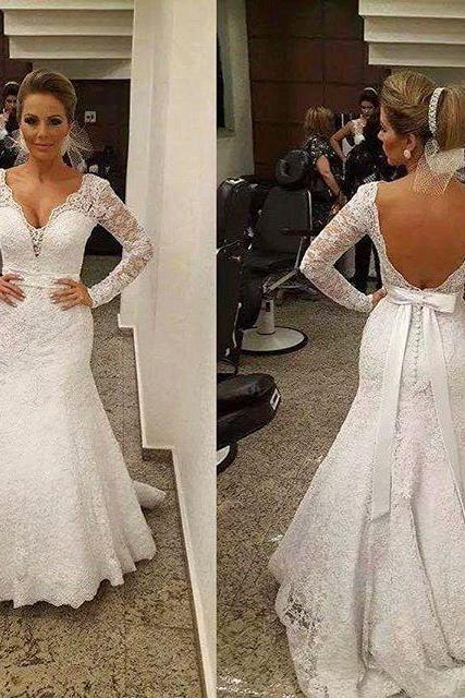 White Wedding Dresses,Mermaid Wedding Gown,Lace Wedding Gowns,Lace Bridal Dress,Backless Wedding Dress,Sexy Brides Dress,Vintage Wedding Gowns,Open Back Wedding Dress With Long Sleeves
