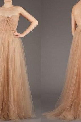 Champagne Prom Dresses,Sexy Evening Dresses,Strapless Prom Gowns,Elegant Prom Dress,Tulle Prom Dresses,Simple Evening Gowns,Modest 2016 Formal Dress