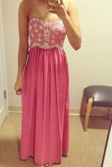 Pink Prom Dresses,Beaded Prom Dress,A Line Prom Gown,Pink Prom Gowns,Elegant Evening Dress,Sweetheart Evening Gowns,Modest Evening Gowns,2016 Sexy Prom Dress