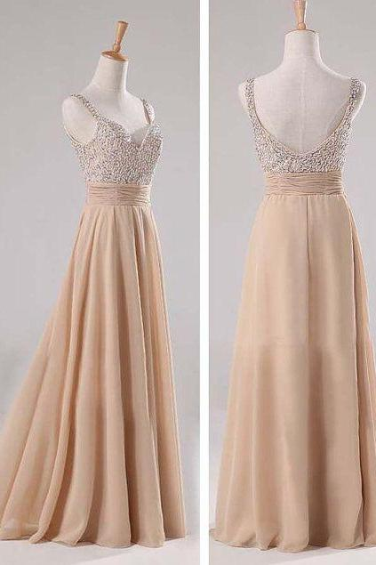 Backless Prom Dresses,Champagne Prom Dress,Straps Prom Gown,Open Back Prom Dresses,Open Backs Evening Gowns,Straps Formal Gown For Teens Girls