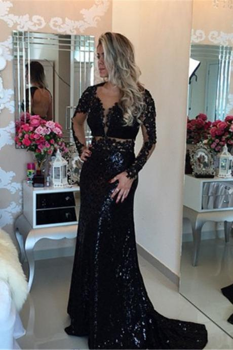 Black Prom Dress,Mermaid Prom Dress,Lace Prom Gown,Backless Prom Dresses,Sexy Evening Gowns,Sequins Evening Gown,Open Back Evening Gown With Long Sleeves Dress For Teens