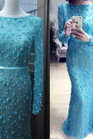 Blue Prom Dress,Mermaid Prom Dress,Sparkle Prom Gown,SparklyProm Dresses,Sexy Evening Gowns,New Fashion Evening Gown,Long Sleeves Party Dress For Teens