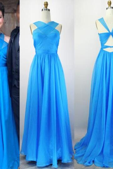 Blue Halter Chiffon A-line Long Prom Dress, Evening Dress Featuring Cutout Back