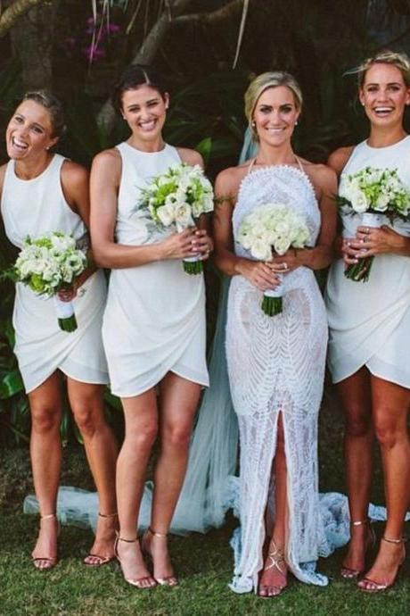 White Bridesmaid Dresses,Short Bridesmaid Gown,Summer Bridesmaid Gowns,Beach Bridesmaid Dress,Cheap Bridesmaid Gown,Fall Bridesmaid Dress For Modest Brides