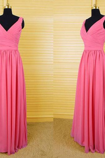 Hot Pink Bridesmaid Gown,Modest Prom Dresses,Pink Prom Gown,Simple Bridesmaid Dress,Cheap Evening Dresses,Fall Wedding Gowns,V Neckline Bridesmaid Dresses,2016 Spring Bridesmaid Gown