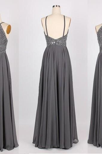 Grey prom dress, backless prom dress, beautiful prom dress, prom dresses 2015