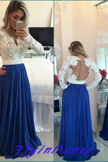 White Lace Royal Blue Skirt Long Prom Dresses,Long Sleeves V Neck Evening Gowns,See Through Cheap Party Dress,Formal Women Dress