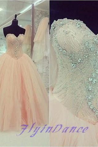 2016 Prom Dress Modest Ball Gown Tulle Sweetheart Prom Dresses Spakle Corset Pale Blush Pink Beads Prom Gowns