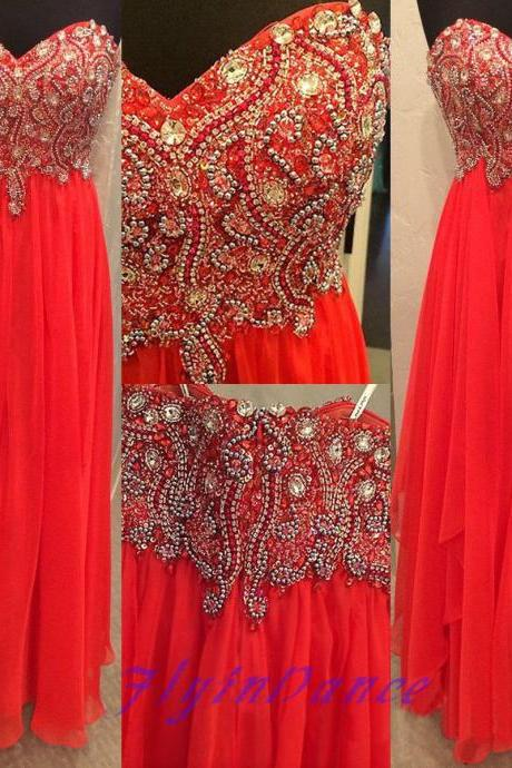 Chiffon Prom Dresses,Strapless Prom Dress,Modest Evening Gown,Sparkly Prom Gowns,Beading Evening Dress,Sparkle Evening Gowns,2016 Red Prom Gowns