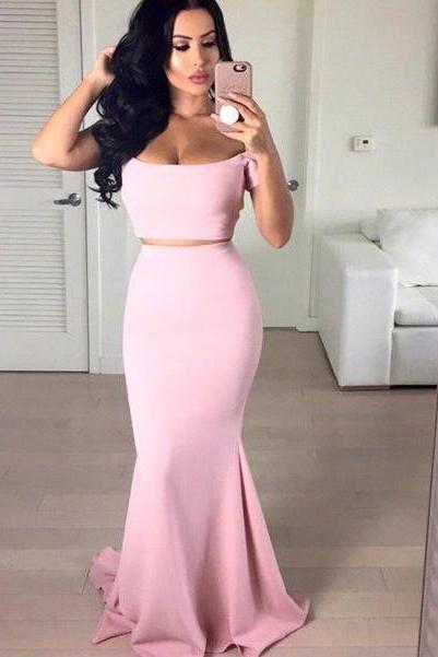 Stunning Off-the-shoulder Pink Prom Dress 2016 Two pieces Mermaid prom dresses