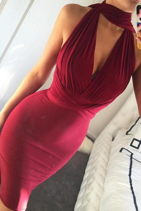 Charming Burgundy High-Neck 2016 Short Prom Dress Mermaid Tight Cute Homecoming dresses