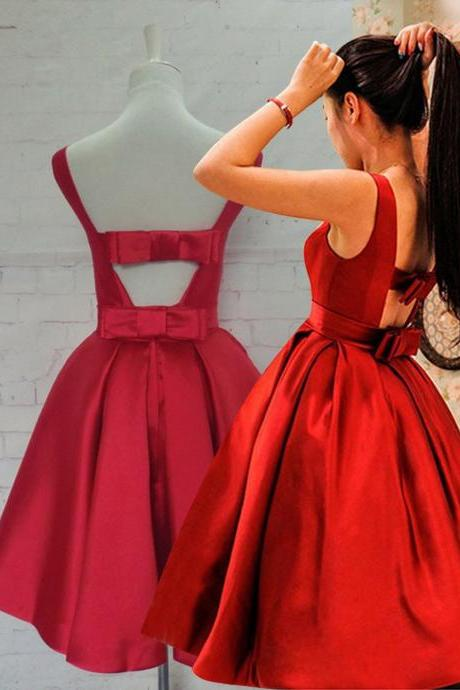 Red Dress,Red Homecoming Dress, SHort Homecoimg Dress,Short Prom Dress,Gorgeous A-line Scoop Short Red Homecoming Dress with Ribbon,Evening Dress