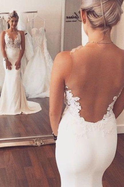 Sexy White Wedding Dress,Fashion V-neck Lace Appliques Sheer Back Mermaid Wedding Dress,Wedding Dresses 2016,Mermaid Wedding Dresses,Backless Wedding Dresses