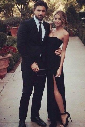 Simple-dress Elegant Strapless Slit Sexy Black Prom Dresses, Evening Dresses, Party Dresses,A line Prom Dress