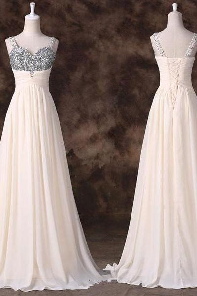 Sweetheart A-line Chiffon Floor-length Dress with Beaded Embellishment and Pleated Bodice and Lace-Up Back
