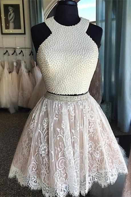 Two Piece Short Homecoming Dress With Pearl,Halter neck Beaded Short Lace Prom Dress,Two Piece Graduation Dress On Sale,Custom Made Short Dress