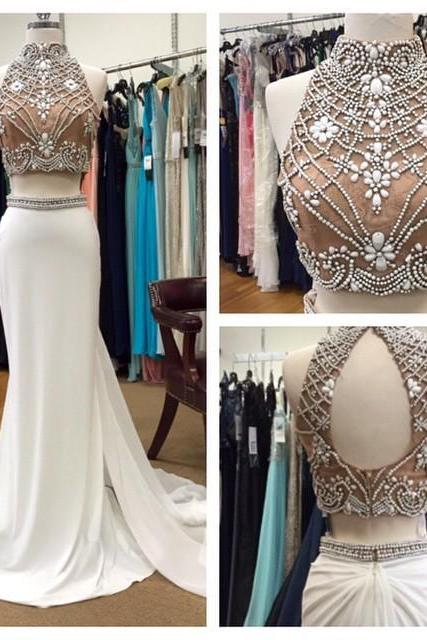 Two Pieces A-Line Prom Dresses,Long Prom Dresses,Cheap Prom Dresses,Beading Evening Dress Prom Gowns, Formal Women Dress,prom dress