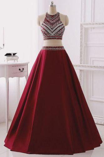 Long Two Pieces Prom Dress with Beaded Halter Neck Crop Top - Evening Dress