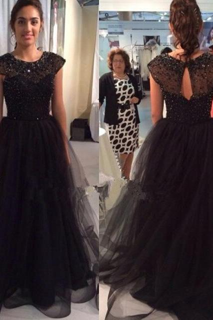 New Charming Cape Sleeves Sequined Beaded Tulle Evening Prom Dresses Crew-Neck Black Ruffle Formal Gowns