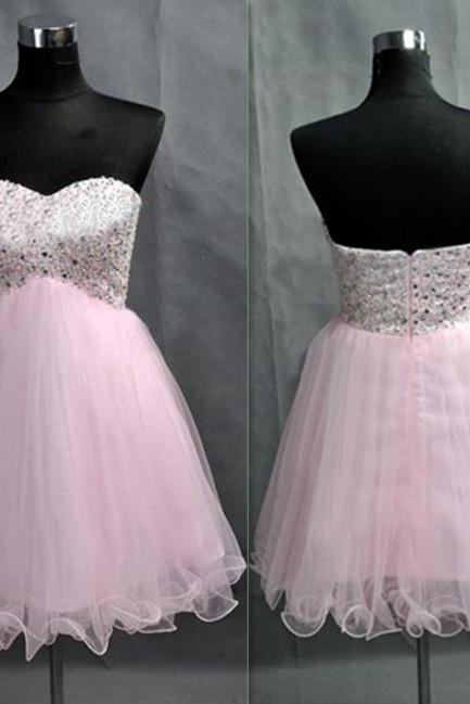 Short Tulle Homecoming Dresses Crystal beaded Party Dresses