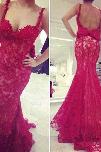 Prom Dress,Strapless Straps Prom Dress,Sexy Prom Dress,Lace Red Prom Dress,Long Prom Dress,Evening Dress