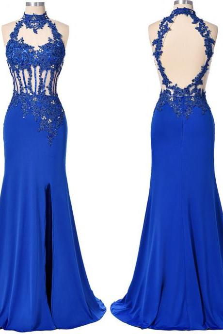 Split Side Evening Dress ,Blue High Neck Evening Dress,Lace Appliques Formal Dress with Beaded,Long Prom Dress