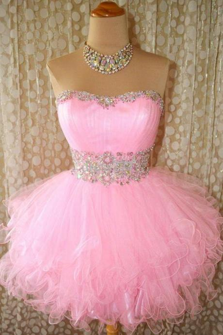 Ball Gown Sweetheart Beaded Tulle Short Pink Prom Dresses Gowns 2016, Formal Evening Dresses Gowns, Homecoming Graduation Cocktail Party Dresses