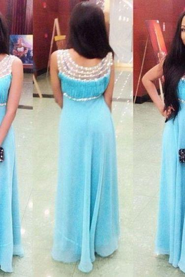 Light Blue Prom Dress,Sexy Prom Gown,Beading Prom Dress,Long Evening Dress,Women Dress