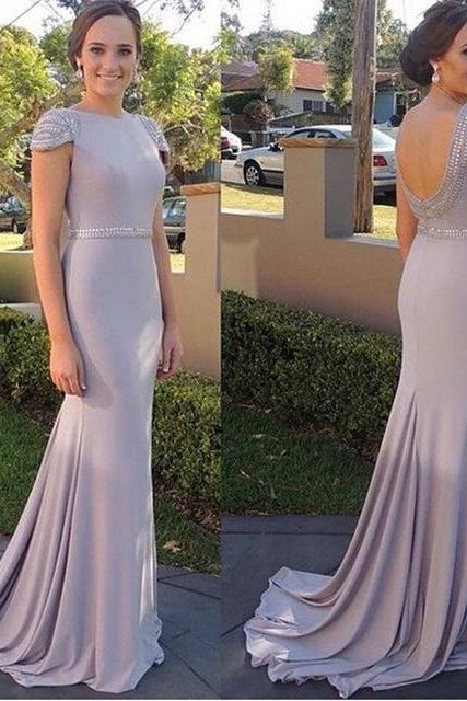 Fashion Backless Long Evening Dress 2016 O Neck Short Sleeve Beaded Crystal Women Formal Prom Dress