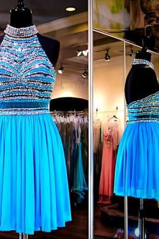 Charming Prom Dress,New Prom Dress, Blue Homecoming Dress,Prom Gown,Short Party Dress
