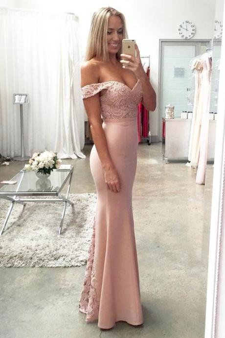 Sexy Prom Dress,Pink Lace Prom Dress,Off the Shoulder Prom Dress,Pink Graduation Dress,Formal Dress,Long Evneing Dress