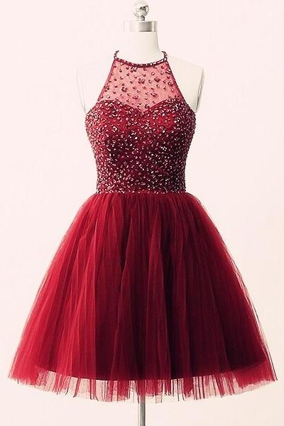 Lovely Halter Handmade Tulle Burgundy Short Prom Dresses, Beaded Homecoming Dresses, Short Homecoming Dress,Party Dresses
