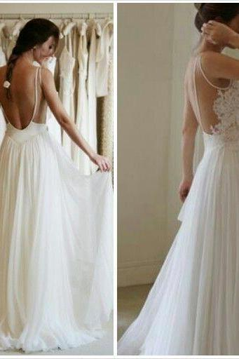 Lace Sleeveless Floor Length Tulle A-Line Wedding Dress Featuring Open Back, Prom Dress