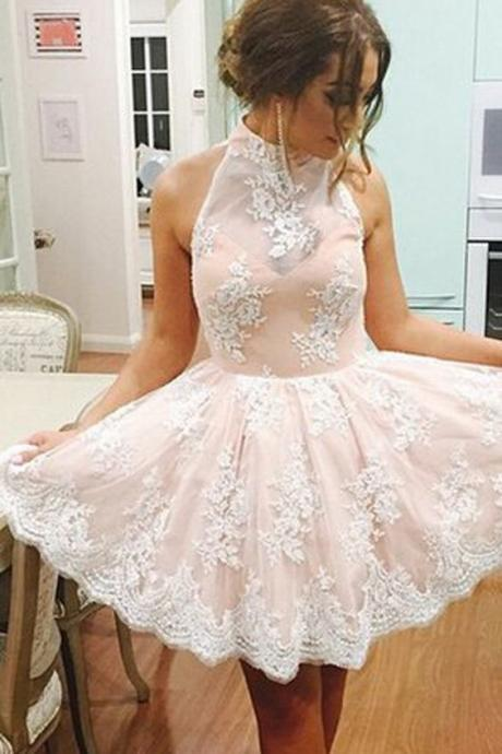 Champagne Homecoming Dress,Illusion Short Prom Dress,White Lace Homecoming Dress,Short Homecoming Dress,High Neck Prom Dress,Party Dress,Prom Formal Dress,