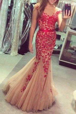 Cap Sleeves Prom Dress, Mermaid Prom Dress, Lace Prom Dress