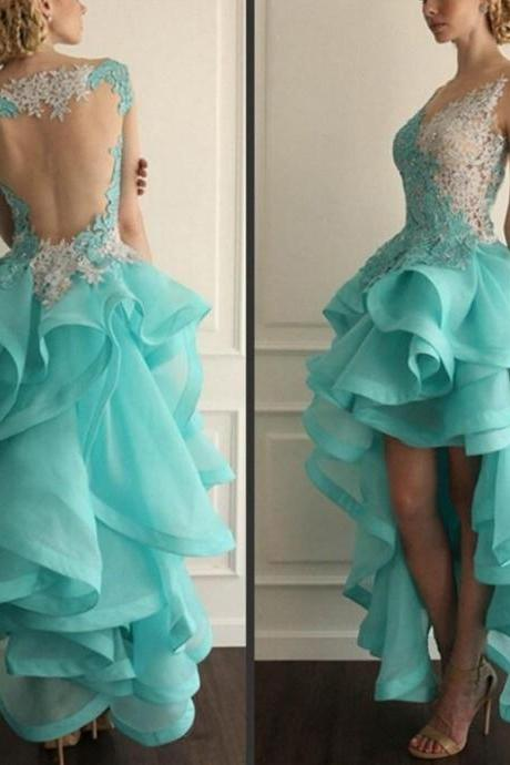 New Arrival Sexy Prom Dress, Sheer Back Hi-lo Party Dress with Ruffled Skirt Ball Gown