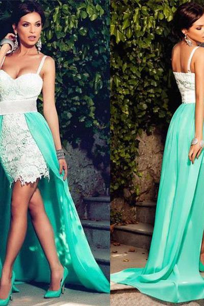 Sexy Prom Dresses,Spagetti Straps Sweetheart White Short Lace Dress with Green Detachable Over Skirt Hi-lo Dress